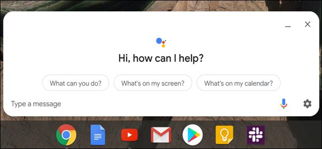Google Assistant-Fenster über einer Chrome OS-Taskleiste.