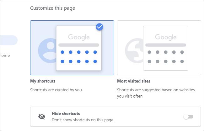 Auswählen, welche Verknüpfungen auf der Seite