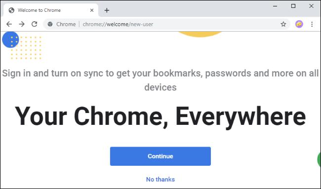 Der neue Willkommensbildschirm von Chrome.
