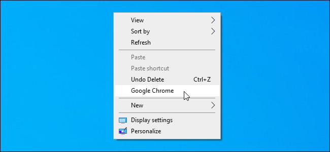 Eine benutzerdefinierte Verknüpfung, die dem Kontextmenü des Windows 10-Desktops hinzugefügt wurde.