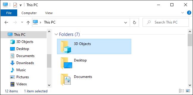 Der Ordner 3D-Objekte im Datei-Explorer