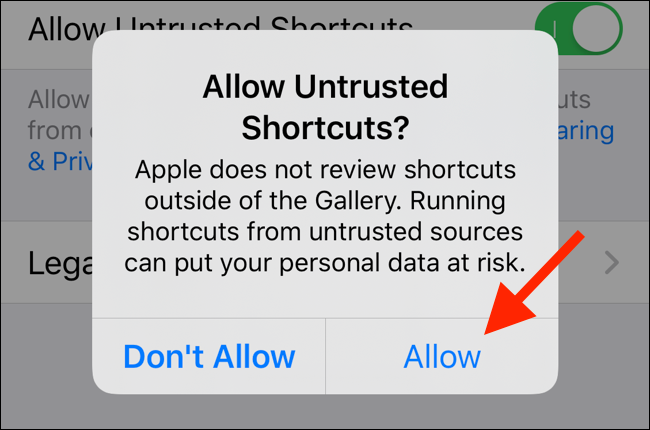 Tippen Sie auf Zulassen, damit nicht vertrauenswürdige Verknüpfungen auf Ihrem Gerät ausgeführt werden können