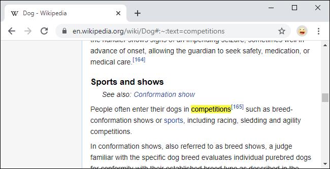 Verknüpfen mit einem bestimmten Text auf einer Webseite in Chrome