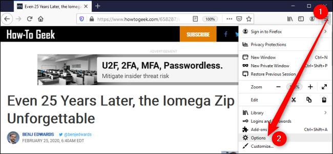 Firefox-Optionen oder -Einstellungen