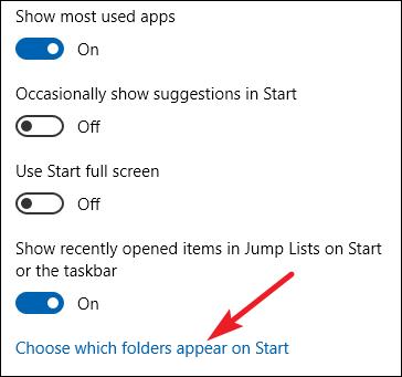 Auswählen, welche Ordner beim Start in der Einstellungs-App angezeigt werden