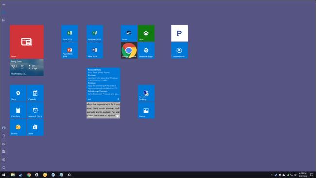 Desktop mit vollem Startbildschirm