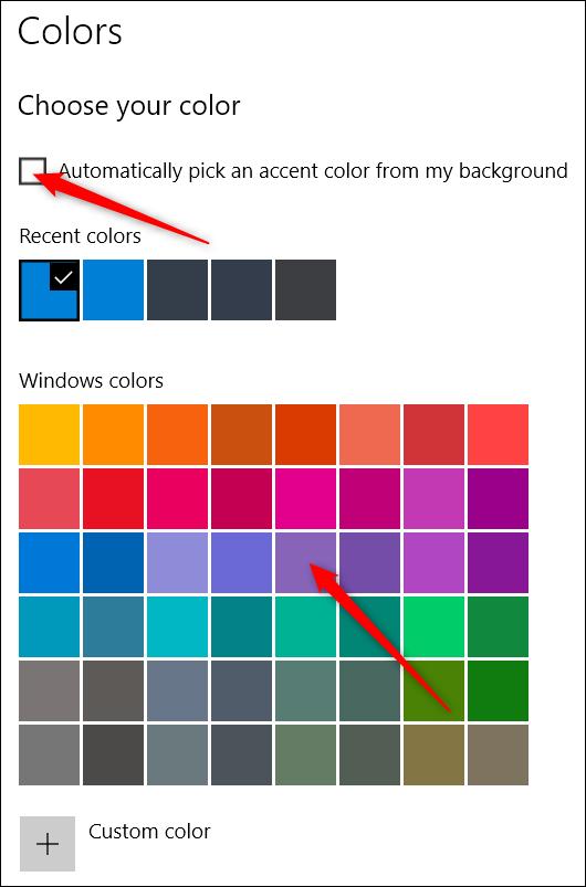 Farben in der Einstellungs-App auswählen