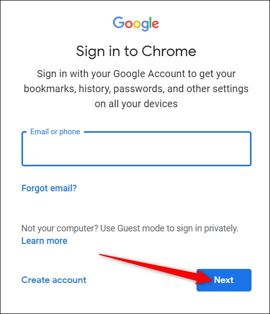 """Geben Sie Ihr Google-Konto ein und drücken Sie """"Nächster."""""""