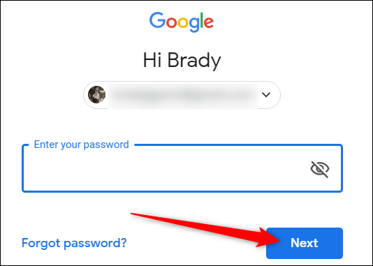 """Geben Sie Ihr Passwort ein und klicken Sie dann auf """"Nächster."""""""