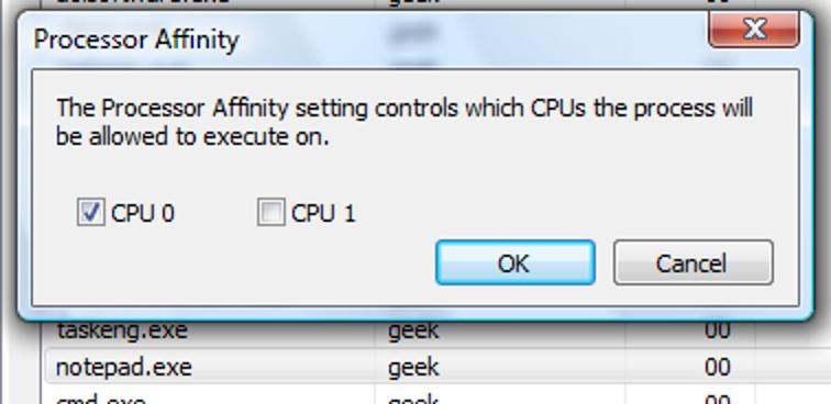 Starten einer Anwendung, die einer bestimmten CPU in Windows 7, 8 oder Vista zugewiesen ist