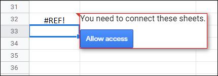 """Erlauben Sie Ihrer Tabelle, auf die andere zuzugreifen, und klicken Sie auf """"Ermöglichen den Zugang."""""""