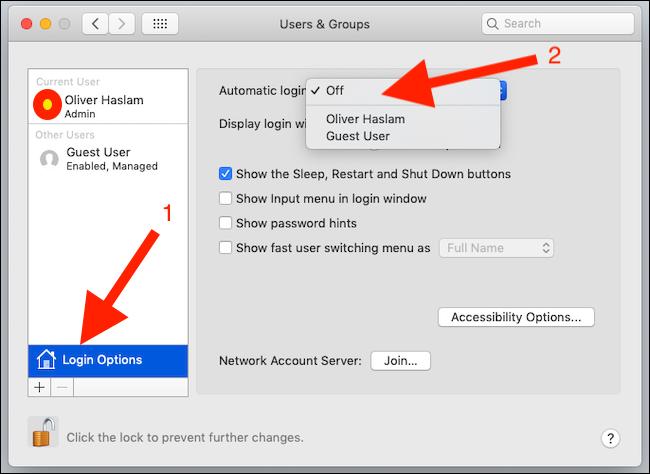 Klicken Sie auf Anmeldeoptionen und dann auf Automatische Anmeldung, bevor Sie den gewünschten Benutzer auswählen