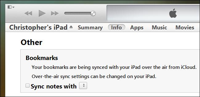 iTunes-Lesezeichen-Synchronisierung