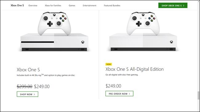 Xbox One S-Preis bei 250 US-Dollar im Vergleich zu Xbox One S All-Digital-Preisen bei 250 US-Dollar