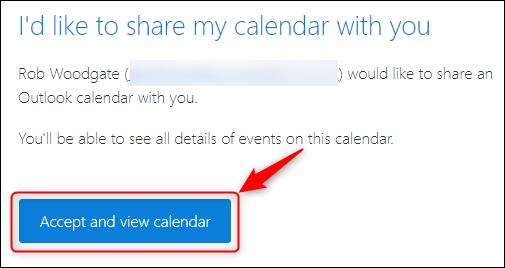 Ein Kalenderfreigabe-E-Mail mit der Schaltfläche zum Hinzufügen eines freigegebenen Kalenders.