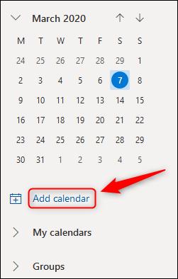 """Outlook Onlines """"Kalender hinzufügen"""" Möglichkeit."""