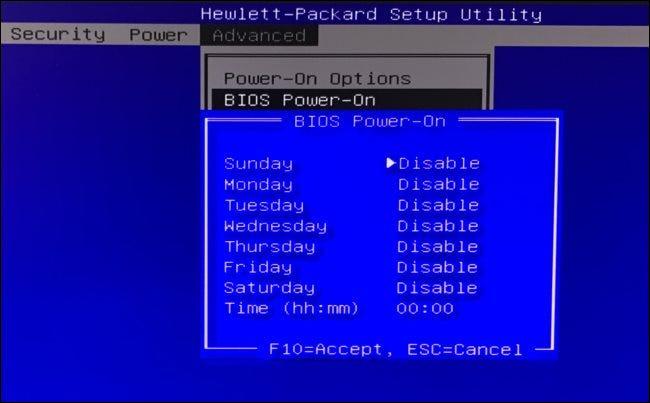 BIOS-Einschaltoptionen auf einem HP-Computer.