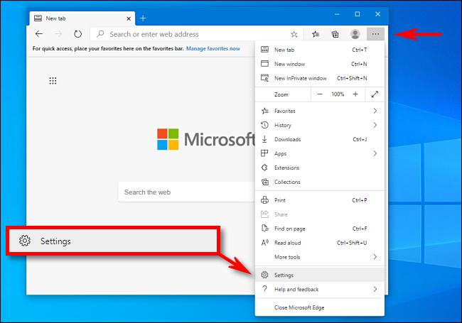 Klicken Sie auf Einstellungen in Microsoft Edge