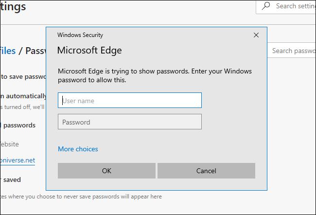 Microsoft Edge fragt nach dem Systemkennwort unter Windows