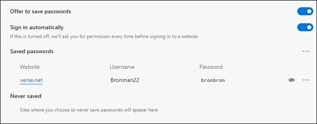Ein gespeichertes Passwort wird in Edge angezeigt revealed