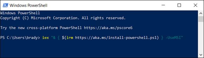 Geben Sie den folgenden Befehl ein, um das MSI-Paket von PowerShell herunterzuladen.