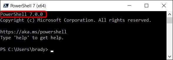 Stellen Sie sicher, dass Sie PowerShell 7 in der oberen Ecke des Programms ausführen.