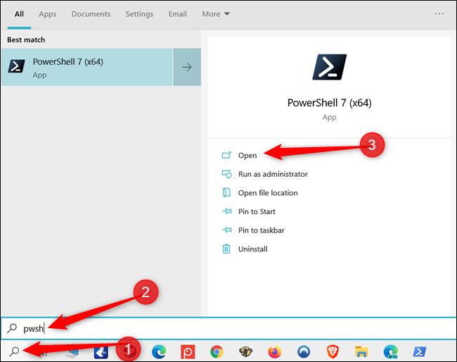 Suchen Sie in der Windows-Suchleiste nach PowerShell.