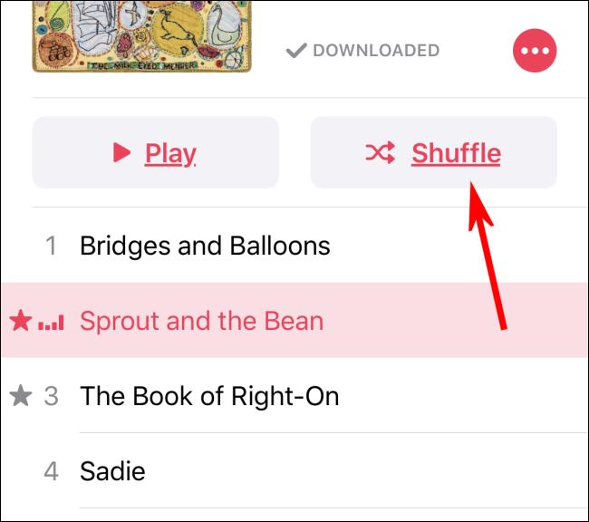 Aktivieren von Shuffle in der Musik-App mit der Shuffle-Taste
