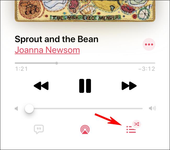 """Tippen Sie auf """"Up Next"""", um die Zufallswiedergabe in der Apple Music-App zu deaktivieren"""