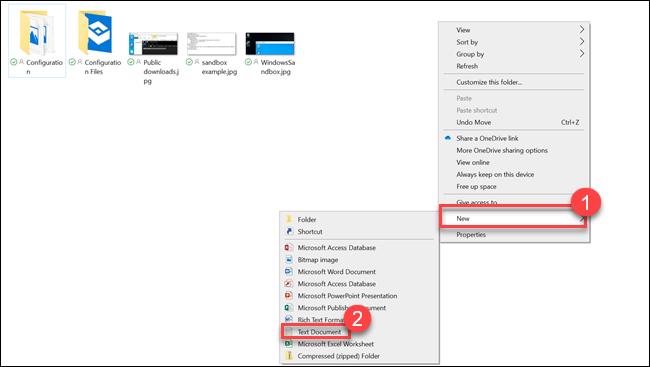 Untermenü des Datei-Explorers mit Pfeilen, die auf Neues und Textdokument zeigen
