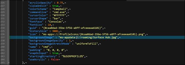 Json-Konfigurationsdatei des Windows-Terminals mit einer benutzerdefinierten Hintergrundoption.