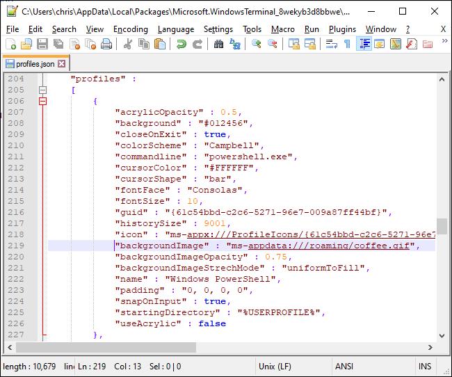Festlegen eines Hintergrundbilds in der JSON-Datei von Windows Terminal