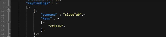 Optionen für die Tastenbindung des Windows-Terminals.