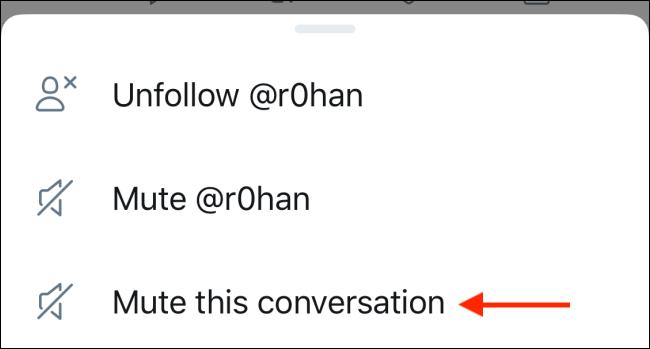 """Um Tweets stummzuschalten, klicke auf """"Dieses Gespräch stumm schalten."""""""