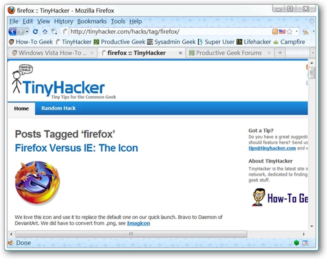 Erstellen und Anheften von Tabs in der Größe von Fav-Icons in Firefox