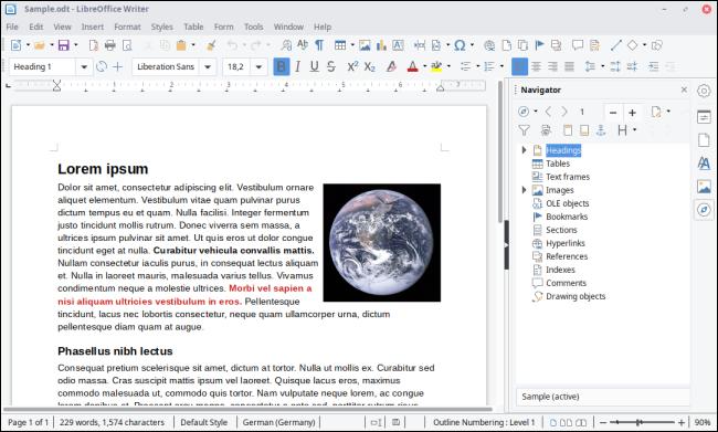LibreOffice Writer-Schnittstelle