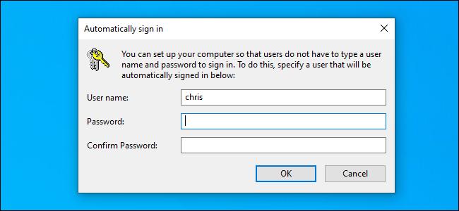 """Das """"Automatisch anmelden"""" Optionsfenster unter Windows 10."""