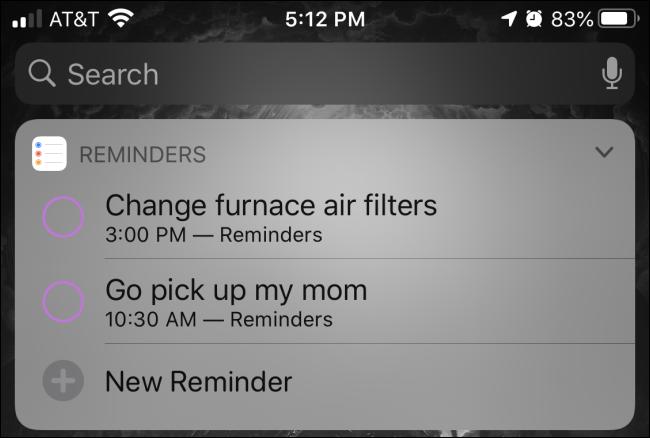 """EIN """"Erinnerungen"""" Widget in der Heute-Ansicht auf einem iPhone."""