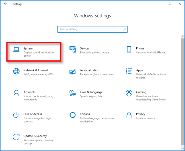 """Klicken """"System"""" im """"Windows-Einstellungen"""" unter Windows 10."""