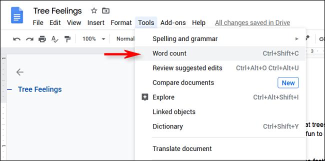"""Klicken Sie in Google Docs auf Extras > Wörter zählen"""" width=""""650″ height=""""322″ onload=""""pagespeed.lazyLoadImages.loadIfVisibleAndMaybeBeacon(this);"""" onerror=""""this.onerror=null;pagespeed.lazyLoadImages.loadIfVisibleAndMaybeBeacon(this);""""/></p> <p>Auf dem Bildschirm erscheint ein Menü, das Statistiken zur Wortzahl anzeigt.  Klicken Sie auf das Kontrollkästchen neben """"Wortzahl während der Eingabe anzeigen"""".</p> <p><img class="""