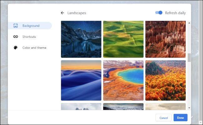 Hintergrundoptionen für die neue Registerkarte von Chrome 77.