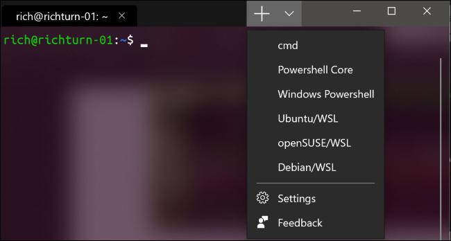 Öffnen einer neuen Registerkarte im neuen Windows-Terminal
