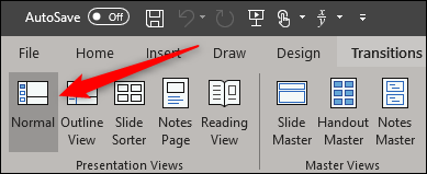 Normale Ansicht in Powerpoint