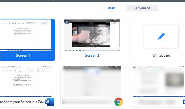 Bildschirmauswahl zum Teilen Ihres Bildschirms