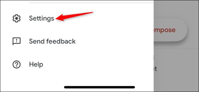 Öffnen des Einstellungsbildschirms der Gmail-App auf dem iPhone.