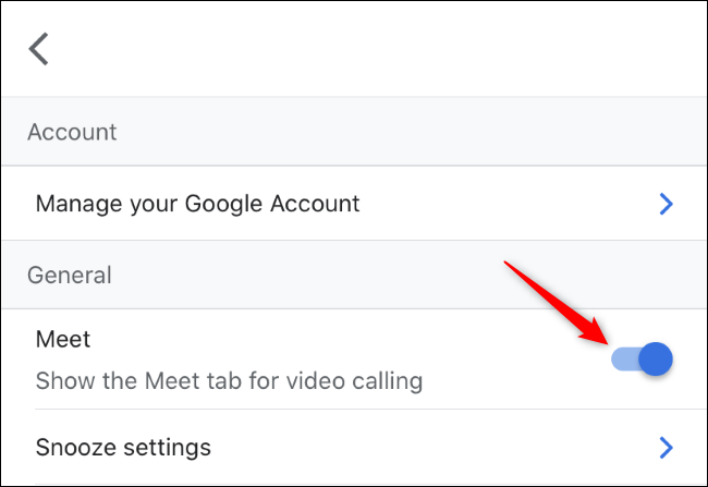 Umschalten des Meet-Tabs für Videoanrufe in Gmail auf dem iPhone.