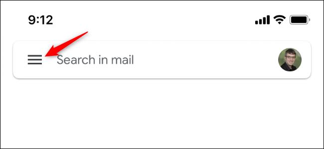 Die Schaltfläche, die das Menü von Gmail auf dem iPhone öffnet.