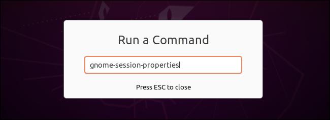 """Starten von gnome-session-propties über das Dialogfeld """"Befehl ausführen""""."""