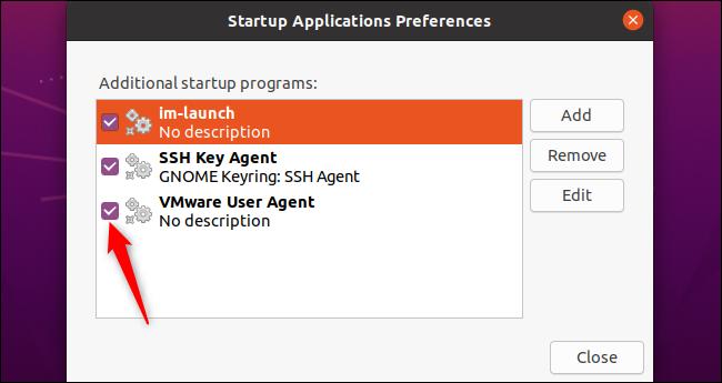 Deaktivieren eines Startprogramms unter Ubuntu.
