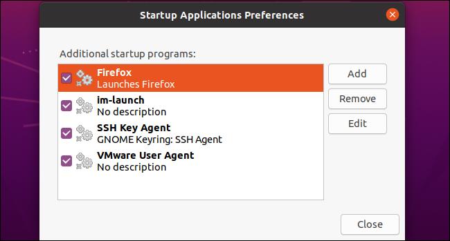 Firefox als benutzerdefinierte Startanwendung auf Ubuntu 20.04 LTS.
